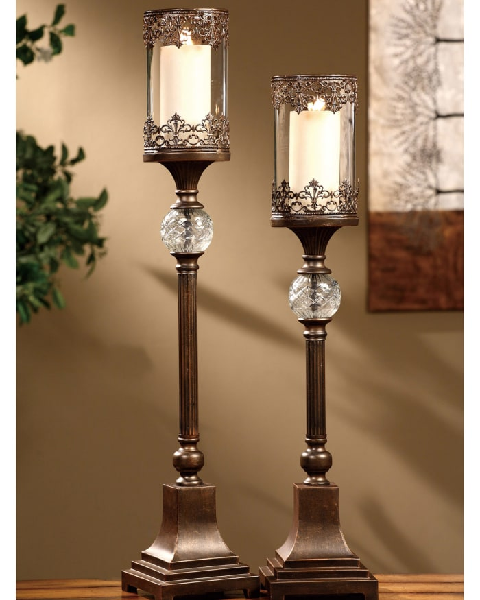 Amaya Tall Embellished Metal Set of 2 Candlesticks