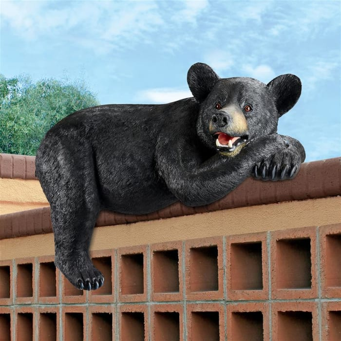 Lemont the Lovable Lounger Black Bear Statue