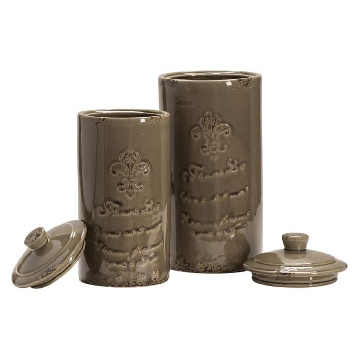 Sienna Fleur de Lis Ceramic Set of 2 Urns