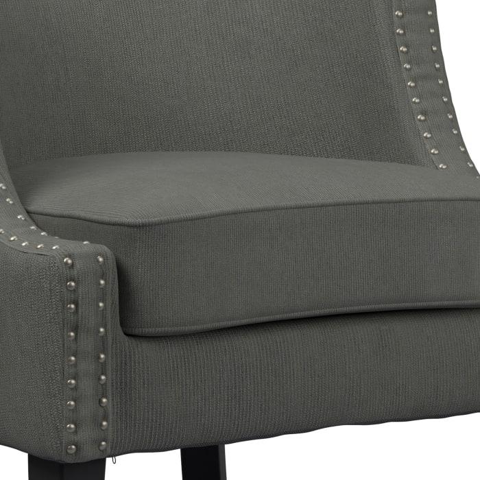 Gray Nailhead Trim Barrel Fabric Accent Chair