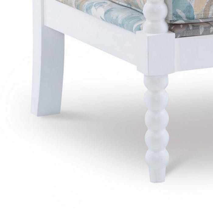 White Floral Spindle Chair