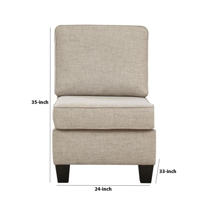 Beige Fabric Armless Chair