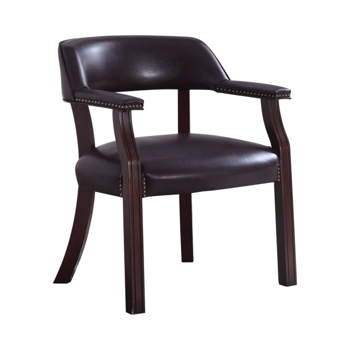 Brown Leatherette with Nailhead Trim Guest Chair