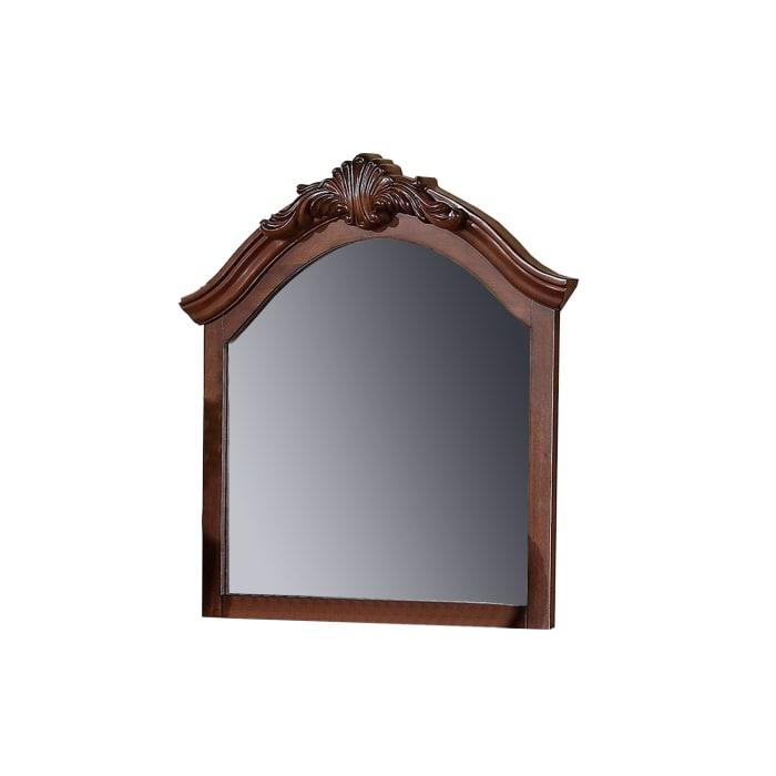 Crowned Top Wooden Brown Mirror