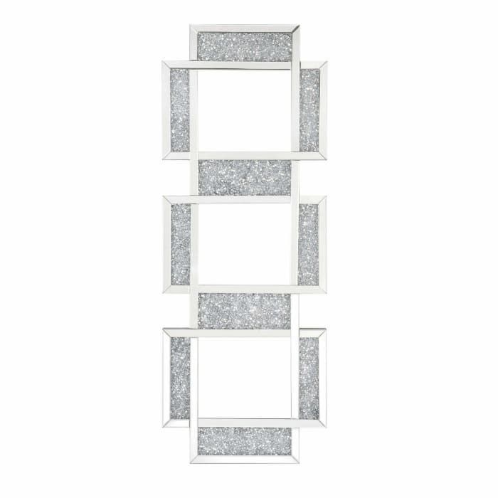 Beveled with Faux Diamond Insert Silver 3 Panel Wall Mirror  Silver