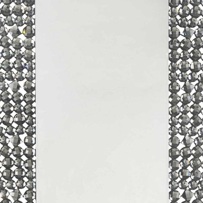 Faux Gem Trim Beveled Black and Silver Rectangular Wall Mirror