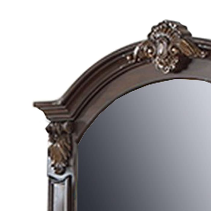 Scalloped Crown Top with Molded Details Brown Wooden Frame Wall Mirror