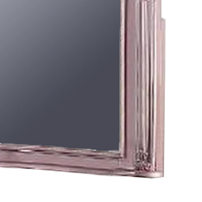 Wooden Carvings and Crown Top Frame Pink Wall Mirror
