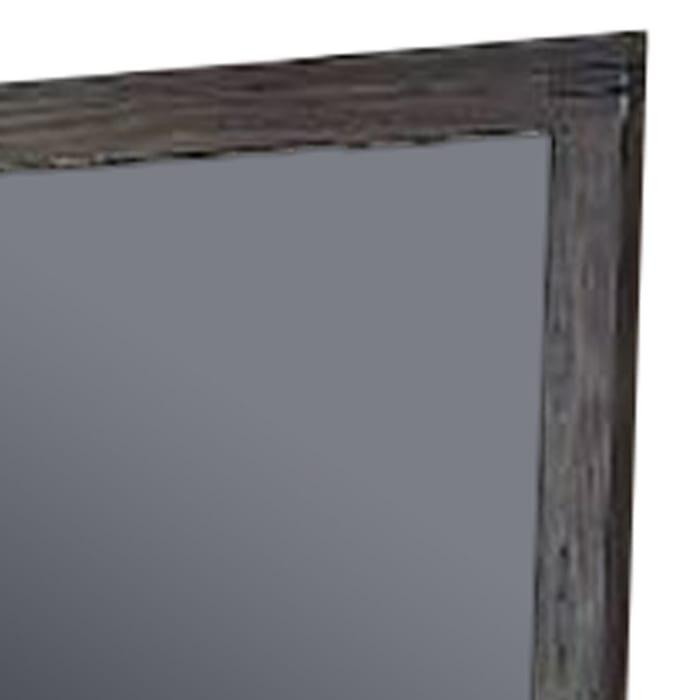 Natural Wood Grain Details Dark Brown  Rectangular Frame Wall Mirror