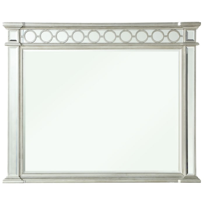 Raised Geometric Pattern  with Beveled Edges Wooden Silver Frame Mirror