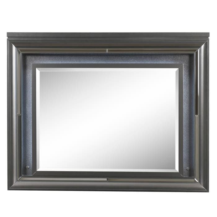 Mirror Accent and Beveled Edges Gray Wall Mirror