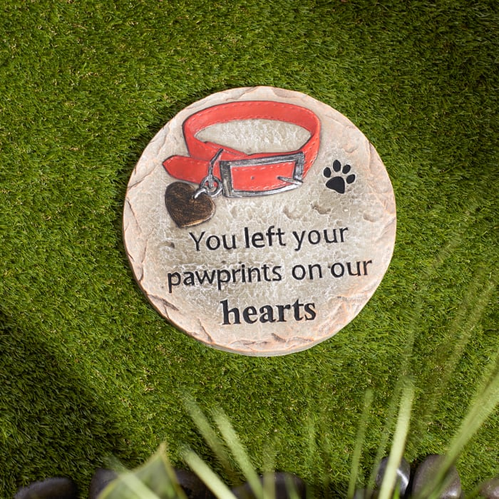 You Left Your Pawprints On Our Hearts  Pet Memorial Stepping Stone