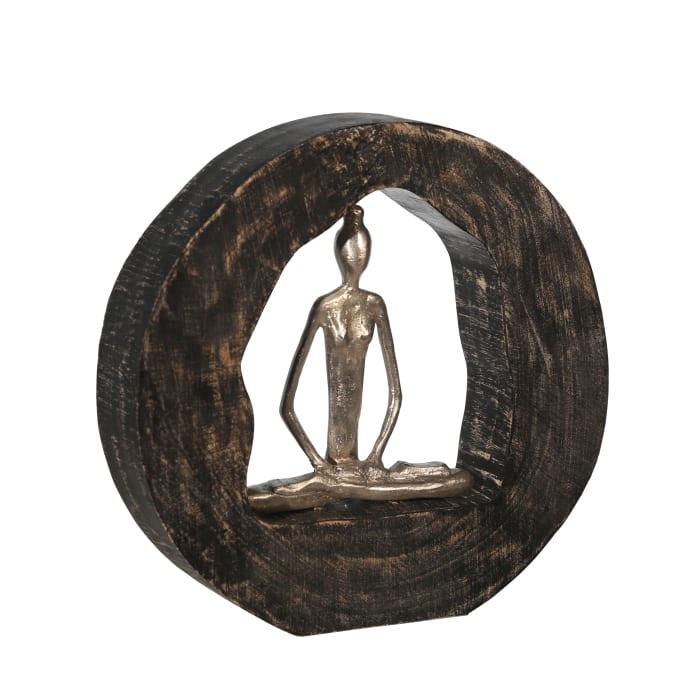 Siddhasana Pose in Metal Circle Sculpture