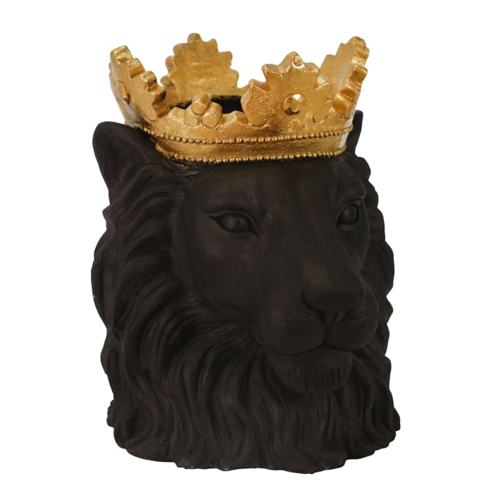 Polyresin Decorative Lion with Crown Figurine