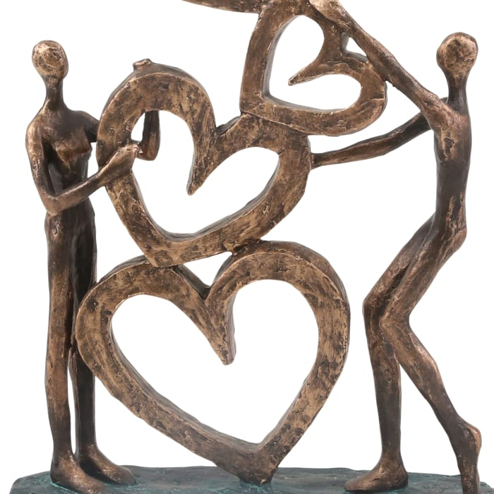 Polyresin Couple with Hearts Figurine