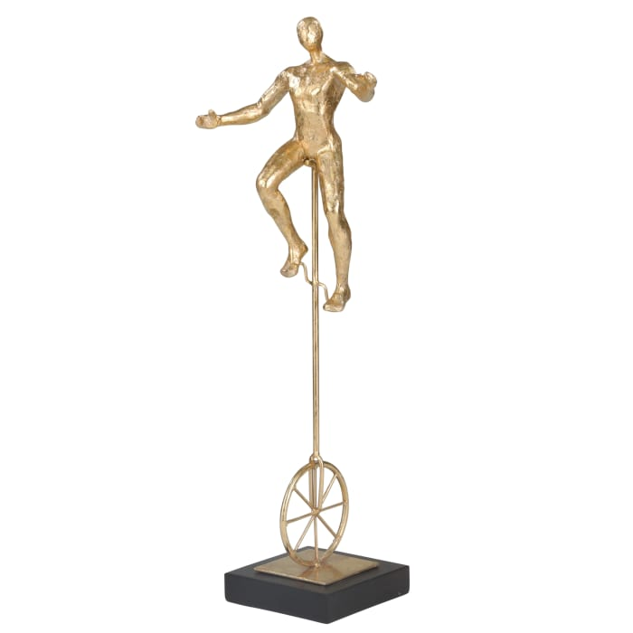 Statuette with Unicycle Gold Figurine
