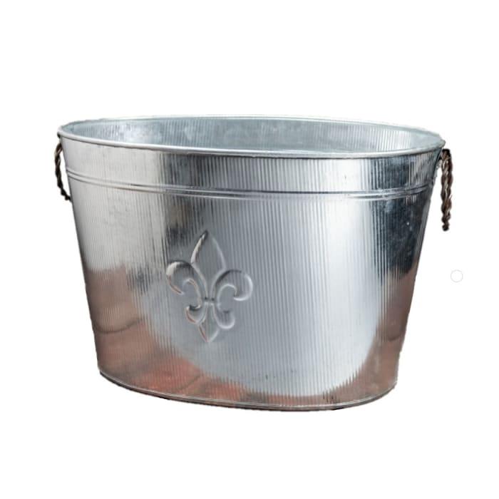 Oval Silver Ribbed Fleur de Lis Beverage Tub
