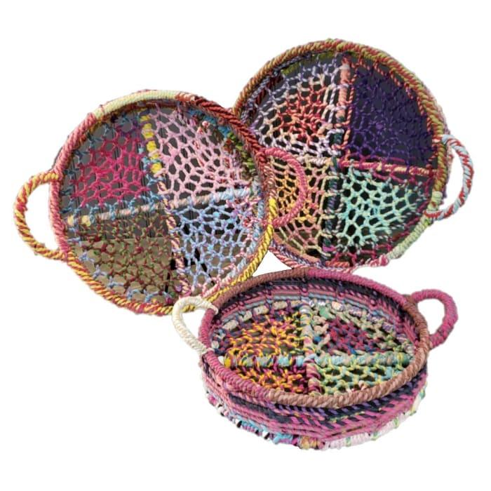 Handmade Rainbow Round Nesting Set of 3 Jute Trays