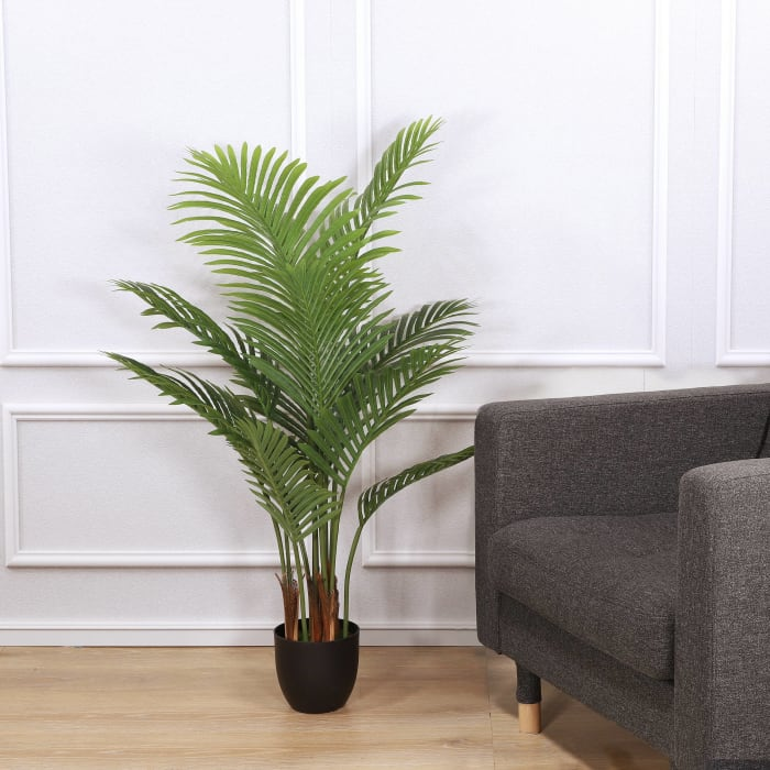 Artificial Areca Palm with 12 Leaves in Black Plastic Pot
