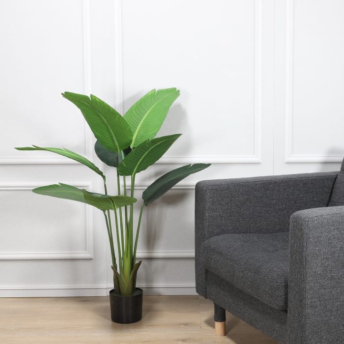 Artificial Travellers Palm with 8 Leaves In Black Plastic Pot
