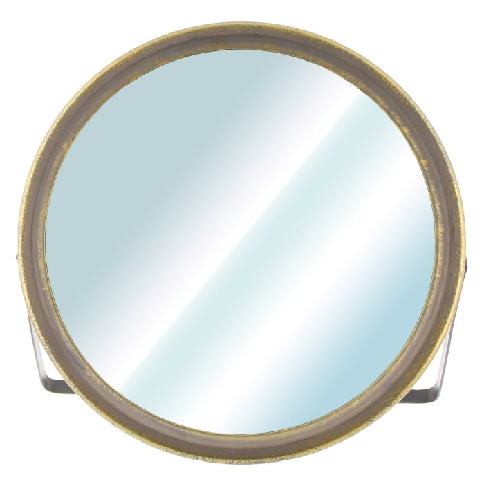 Gray and Gold Tabletop Round Vanity Mirror
