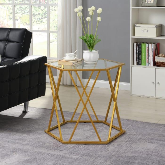 Elena Octagonal Glass Top Accent Table
