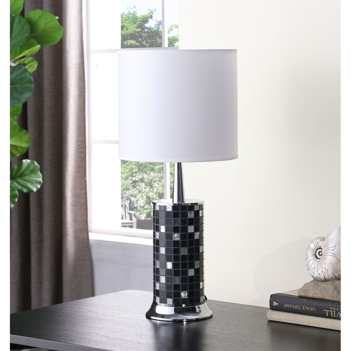 Jon Chrome and Black Glass Mosaic Pillar Table Lamp
