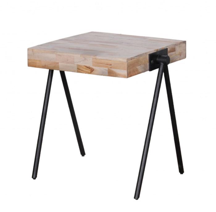 Modern Industrial Multi Grain Wood End Table