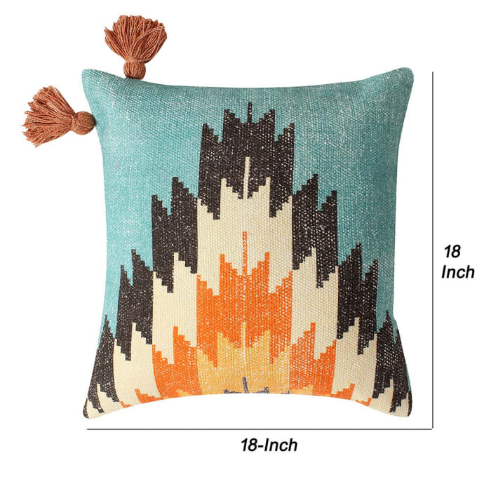 Fiery Printed Cotton Multicolor Accent Cushion Cover