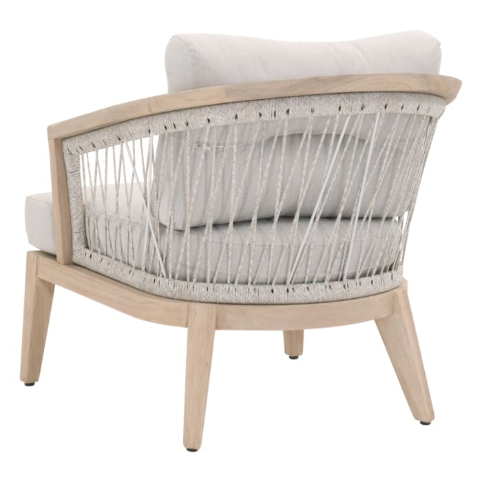 Gray and Brown Curved Woven Rope Outdoor Club Chair
