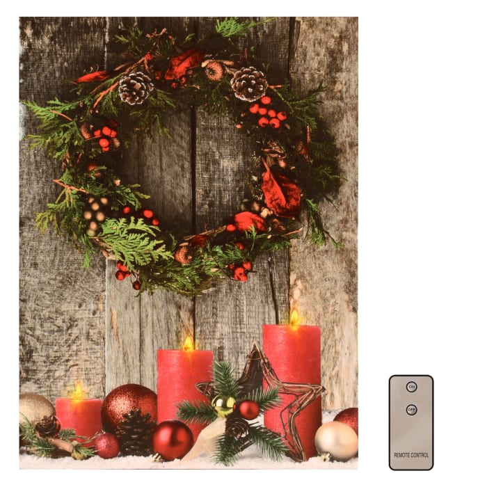 Holiday Wreath and Candles Lighted with Remote Control Wall Art