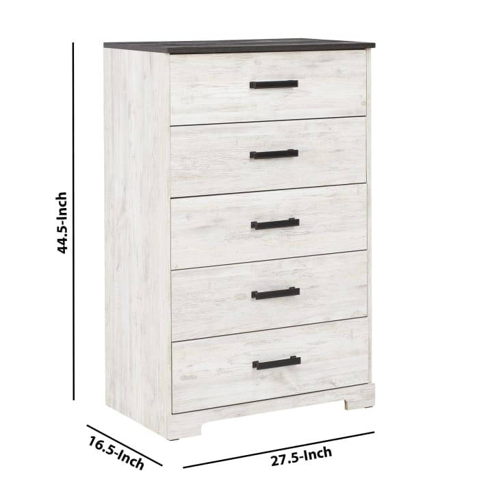 White and Gray 5 Drawer with Grain Detail Wooden Chest