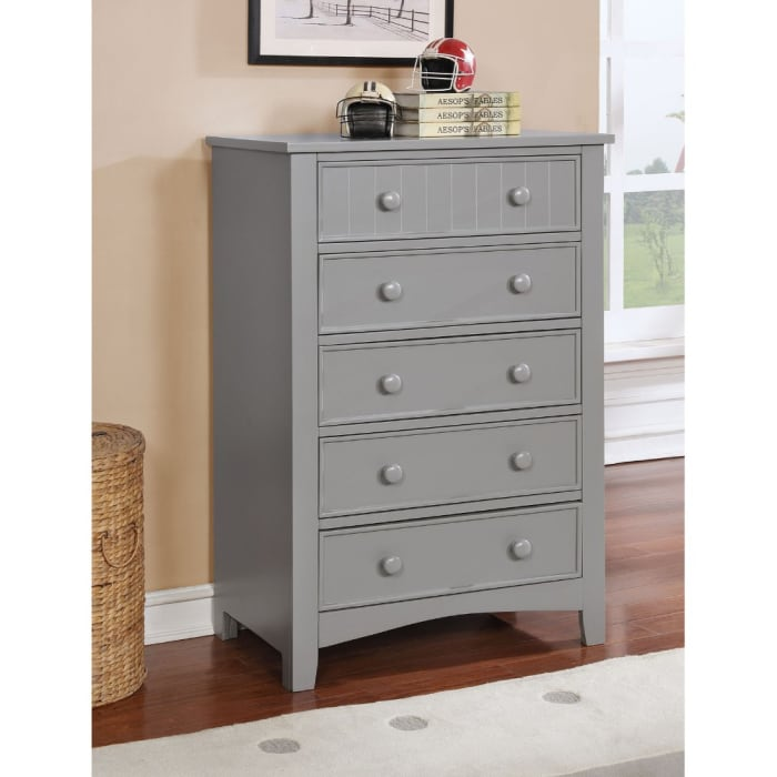 5 Drawer Wood Gray Chest