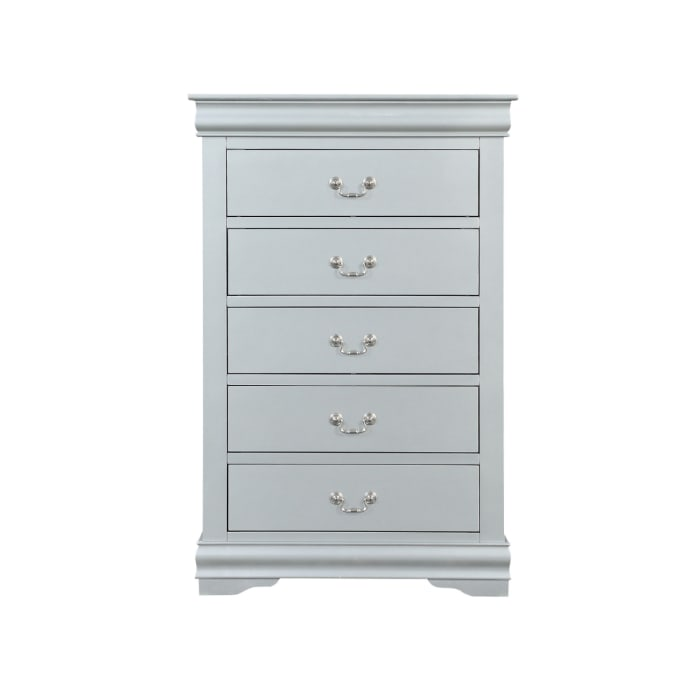 5 Drawer Wooden Gray Chest