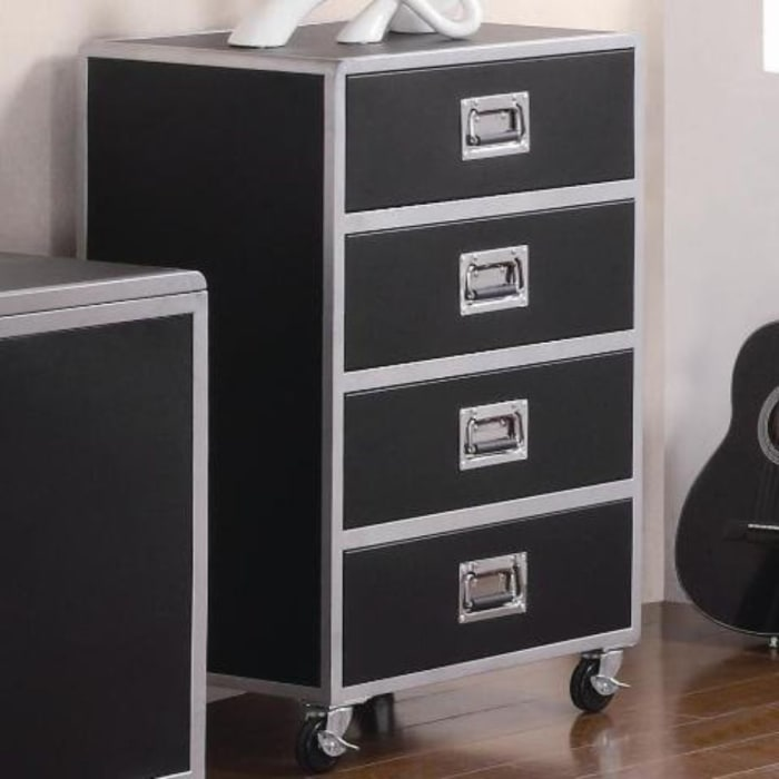 Industrial with Casters Black And Silver Chest