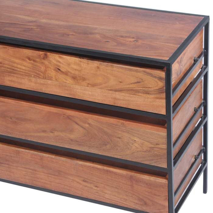 3 Drawer Acacia Wood Low Chest