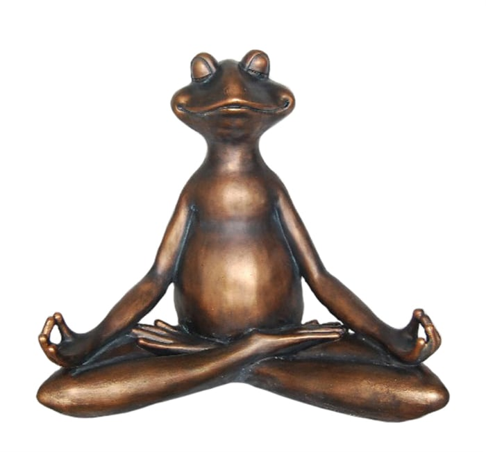 Ideally Peculiar Decorative Resin Copper Yoga Frog Sculpture