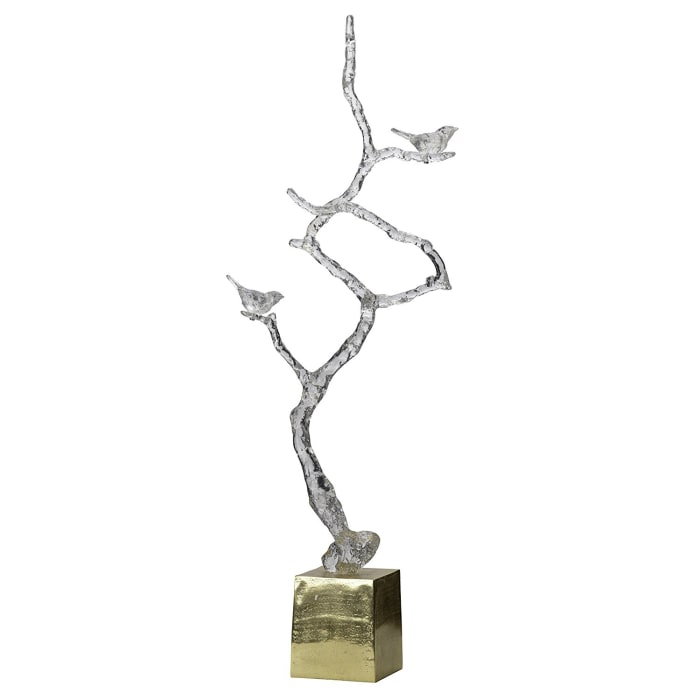Astonishing Metal  Branch Sculpture on Stand Silver And Gold Sculpture