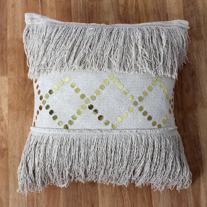 Fringe Sequins Hand Woven Beige Pillow