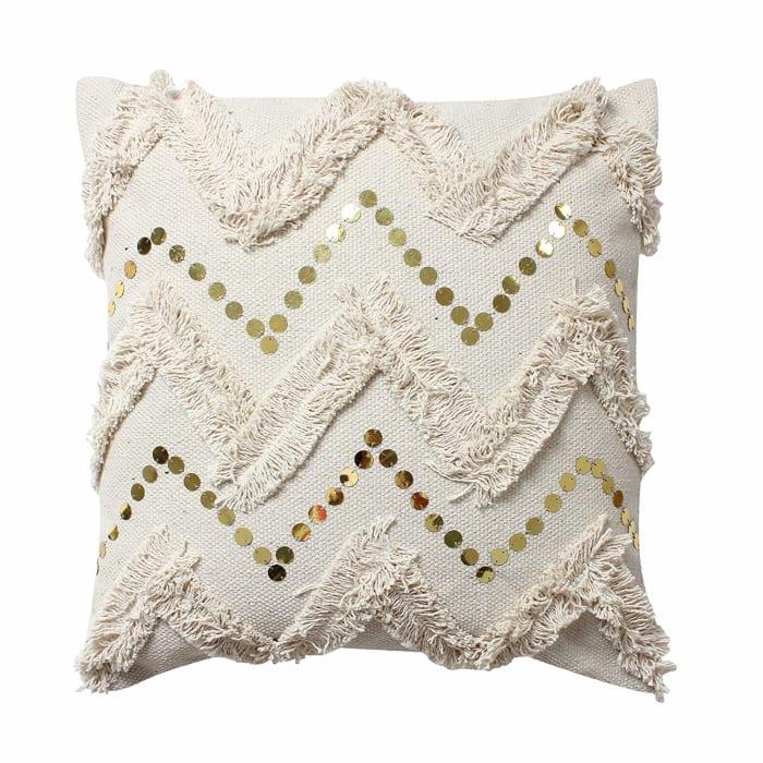 Fringe and Sequin Chevron Beige Pillow