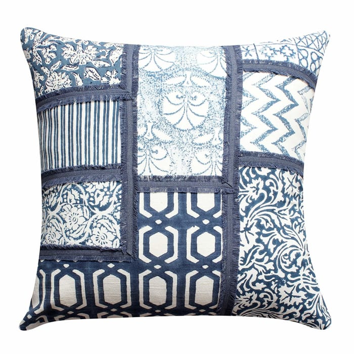 Patchwork Hand Block Blue and White Set of 2 Pillows