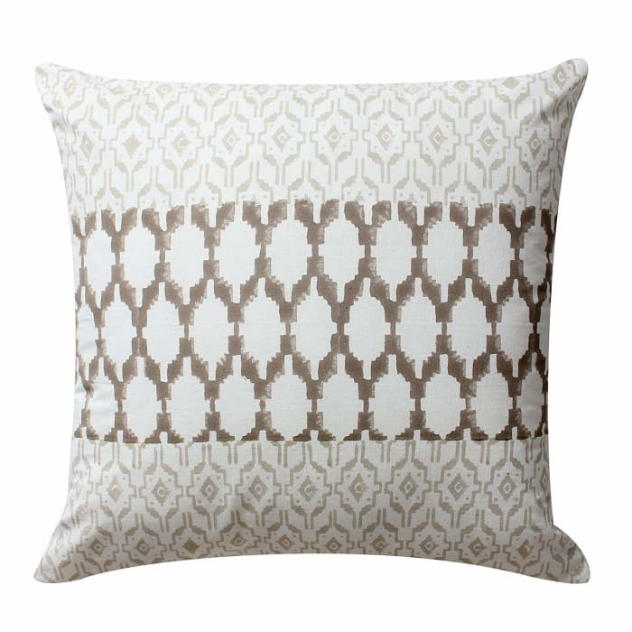 Geometric Details Block Printed Gray and White Set of 4 Pillows