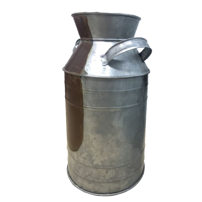 Countryside Galvanized Metal Milk Can Shape Gray Pitcher