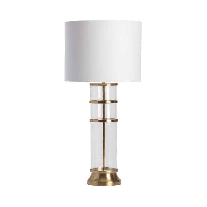 Emine Glass and Gold Cylinder Table Lamp