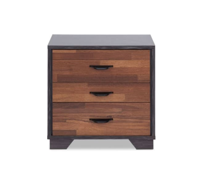 Contemporary 3- Drawer Walnut And Espresso Nightstand