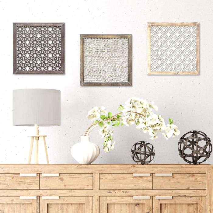 Laser-Cut Framed Wood and Metal Wall Decor