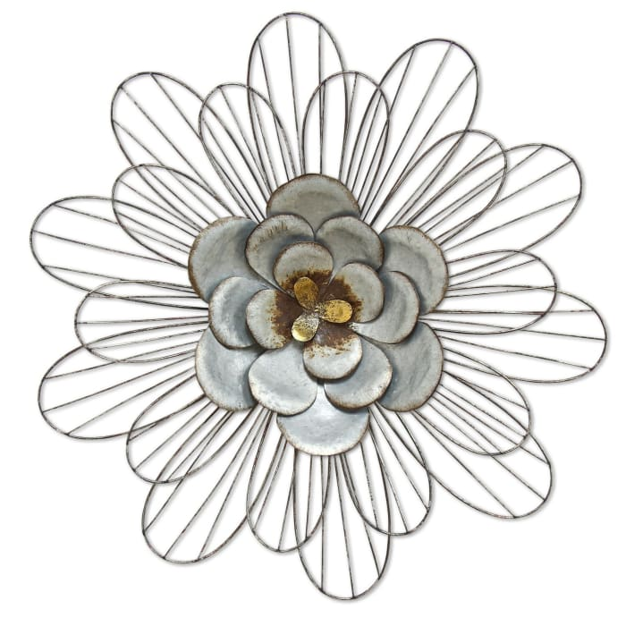 Well-Crafted Galvanized Daisy Metal Wall Decor