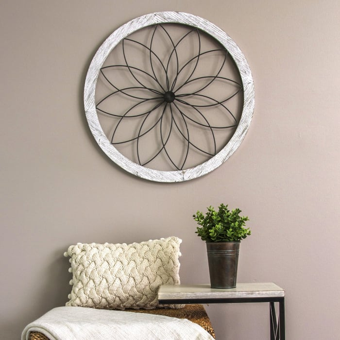 Distressed Chic Flower Metal and Wood Wall Decor