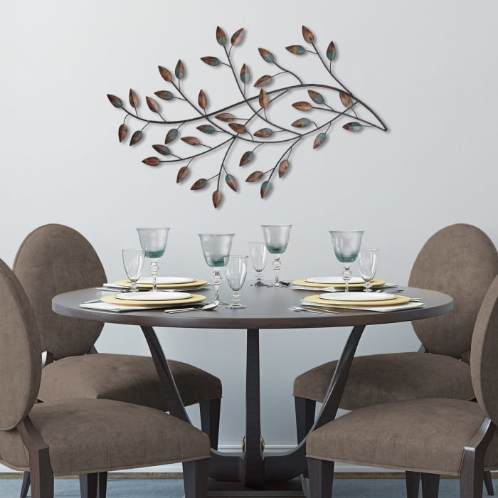 Distressed Metal Blowing Leaves Wall Decor
