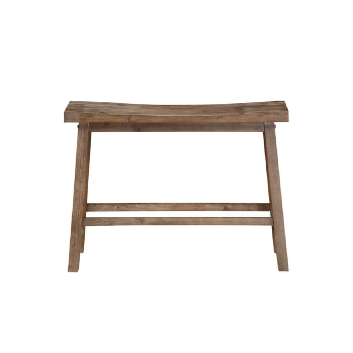 Saddle Seat Wooden Oak Brown with Canted Frame Bench